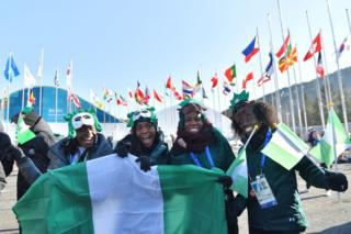 Nigeria's women's bobsleigh and skeleton group members Seun Adigun, Ngozi Onwumere, Akuoma Omeoga and Simidele Adeagbo attend a welcoming rite for a group in a Olympic Village in Pyeongchang forward of a Pyeongchang 2018 Winter Olympic Games on Feb 6, 2018.