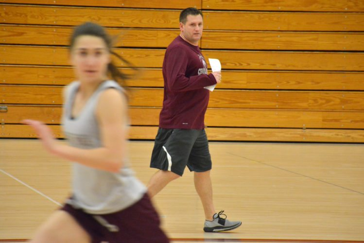 Central Noble girls basketball manager Josh Treesh yells out instructions during a use progressing this week. (Photo by Dan Vance of news-sentinel.com)