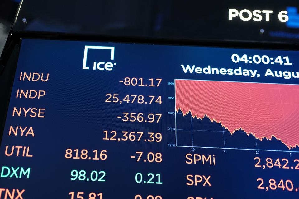 Dow Plunges Over 800 Points Over Bond Market Recession Marker