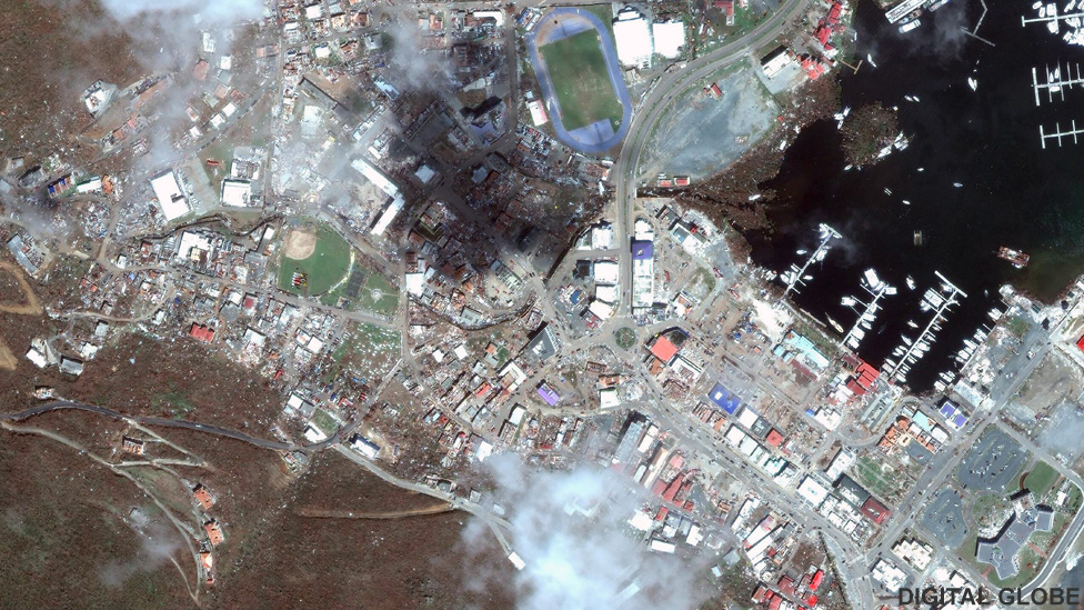 Satellite picture of Road Town, Tortola after Hurricane Irma, 9 Sep 2017