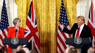 Theresa May and Donald Trump during a primary minister's revisit to Washington in Jan 2017