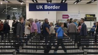 UK Border Force pass check during Gatwick Airport