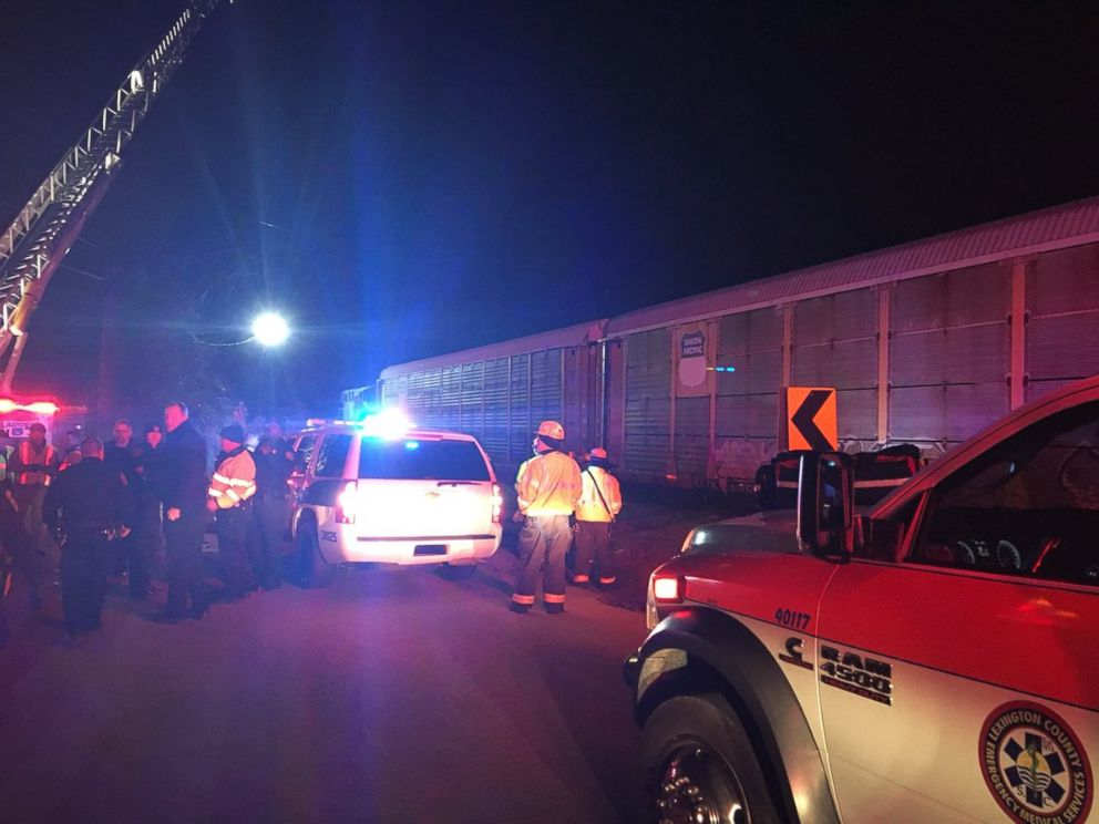 PHOTO: The stage nearby a collision that occurred Feb. 4, 2018 between an Amtrak newcomer sight and a burden sight in South Carolina.