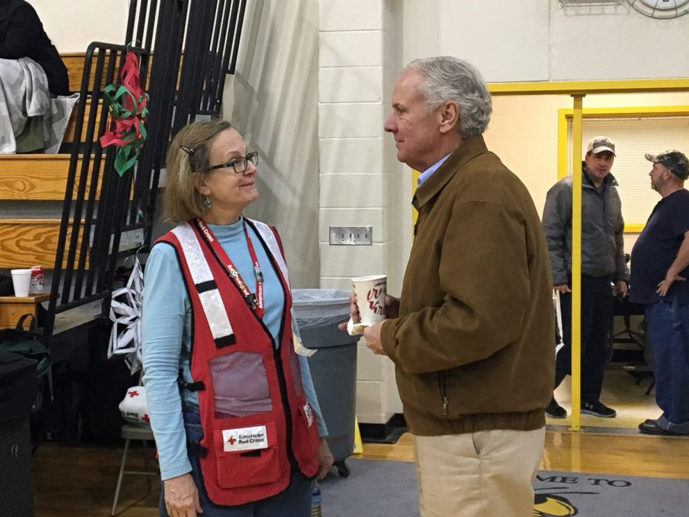 PHOTO: An picture expelled by a American Red Cross shows South Carolina Governor Henry McMaster vocalization to a proffer during a service site for survivors of a deadly sight pile-up nearby Cayce, S.C., Feb. 4, 2018.
