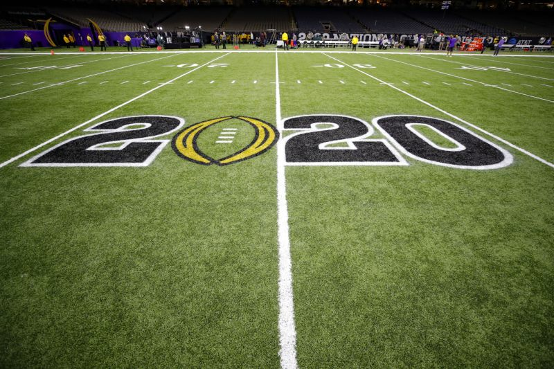 The CFB 2020 trademark is displayed on a margin before to a College Football Playoff pretension diversion between Clemson and LSU. (Todd Kirkland/Icon Sportswire around Getty Images)