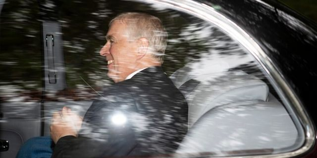 Britain's Prince Andrew, a Duke of York leaves Crathie Kirk, after a Sunday morning church service, in Crathie, Scotland, Sunday, Aug. 11, 2019. (Jane Barlow/PA around AP)