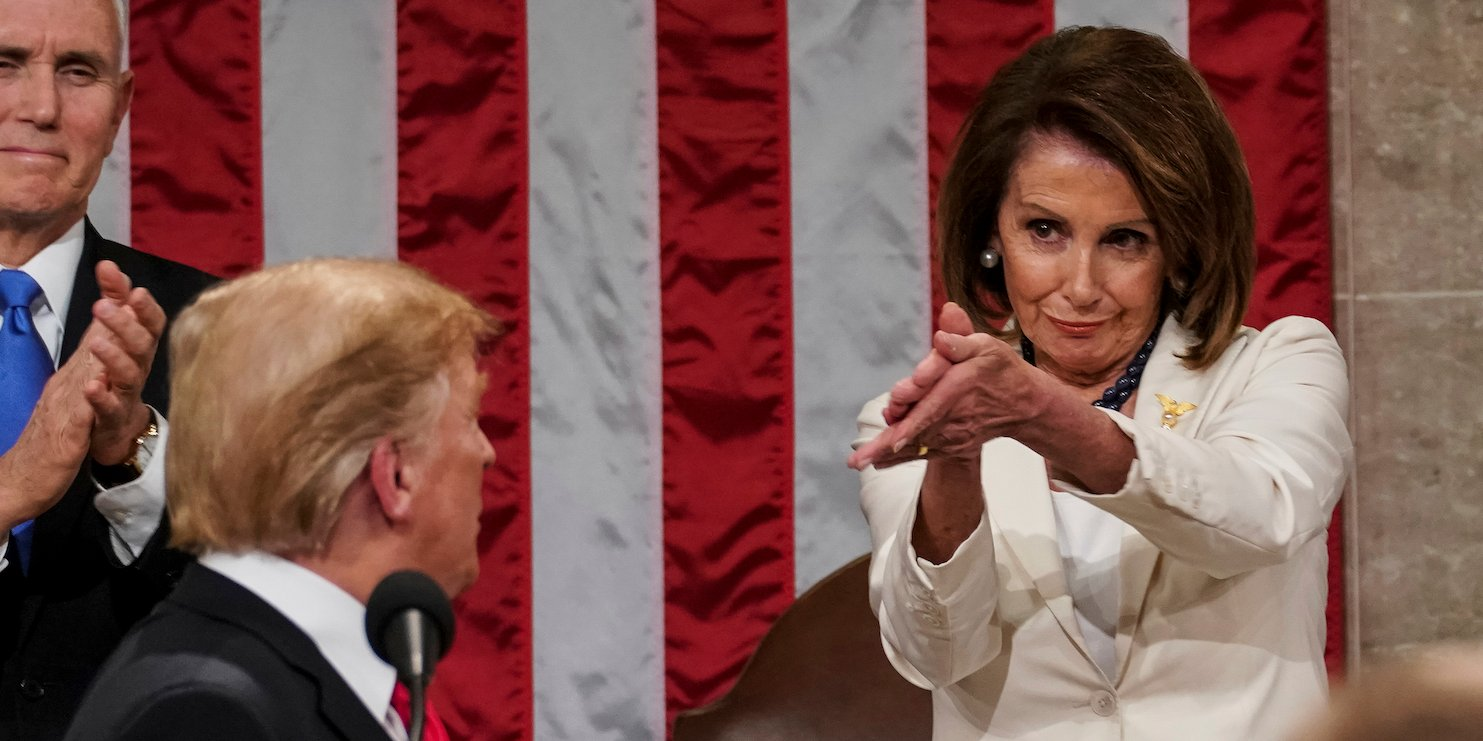 Nancy Pelosi claps for Donald Trump State of a Union