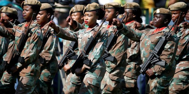 Soldiers march during a coronation of Cyril Ramaphosa as South African boss during Loftus Versfeld track in Pretoria, South Africa May 25, 2019.