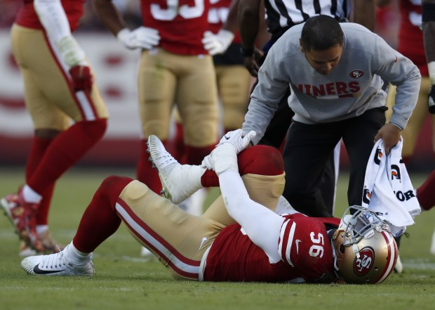 San Francisco 49ers' Reuben Foster (56) binds his leg during their diversion opposite a Arizona Cardinals in a third entertain of their NFL diversion during Levi's Stadium in Santa Clara, Calif. on Sunday, Nov. 5, 2017. (Nhat V. Meyer/Bay Area News Group)