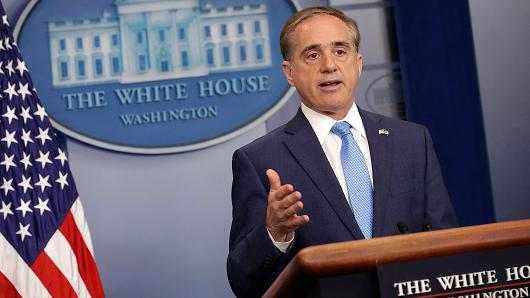 U.S. Veterans Affairs Secretary David Shulkin talks to reporters in a Brady Press Briefing Room during a White House May 31, 2017 in Washington, DC.