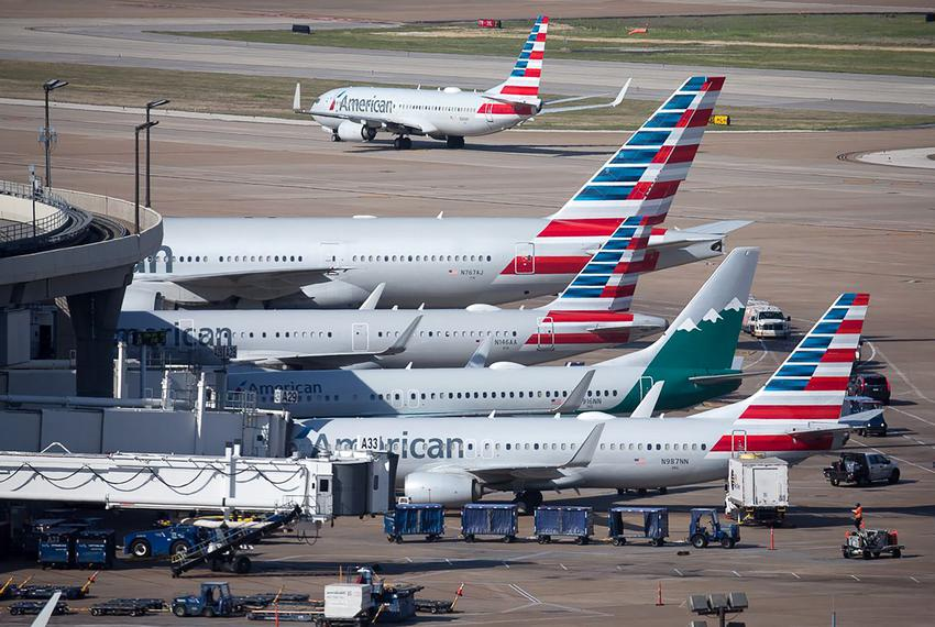 American Airlines jets fill Terminal A during Dallas-Fort Worth International Airport in Apr of 2019.