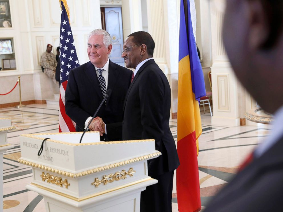 PHOTO: U.S. Secretary of State Rex Tillerson shakes hands after a news discussion with Chads Foreign Minister Mahamat Zene Cherif in NDjamena, Chad, Mar 12, 2018.