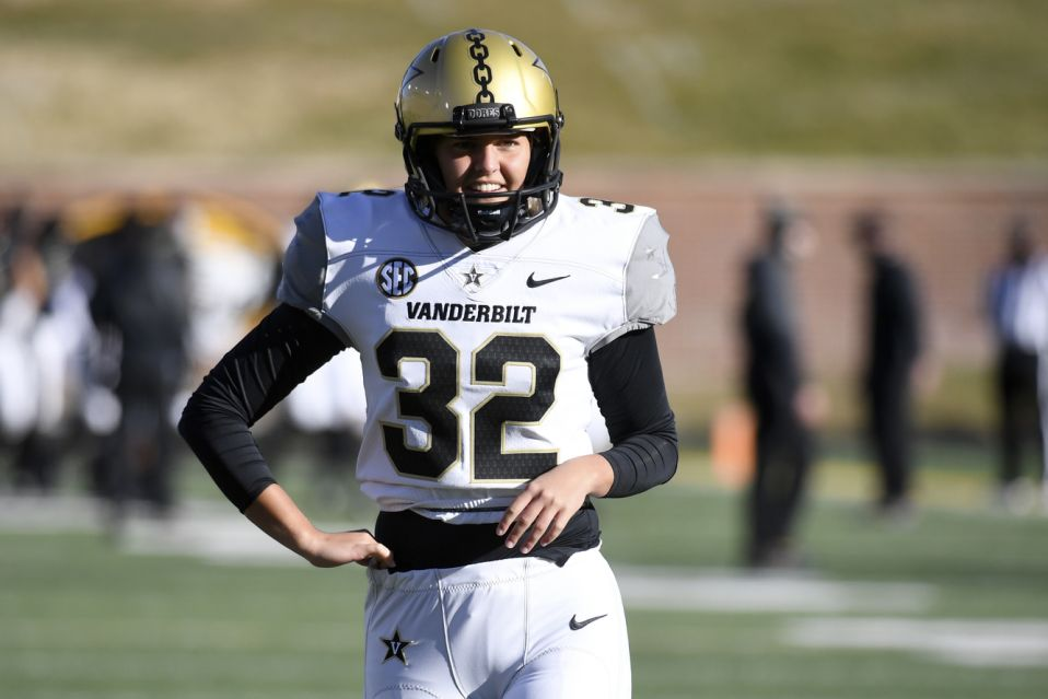 Vanderbilt place kicker Sarah Fuller warms adult before a start of an NCAA college football diversion opposite Missouri Saturday, Nov. 28, 2020, in Columbia, Mo. (AP Photo/L.G. Patterson)
