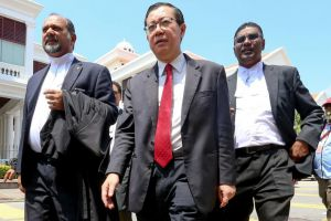 Penang arch apportion Lim Guan Eng (centre) attending a justice event in Penang on Mar 26, 2018.