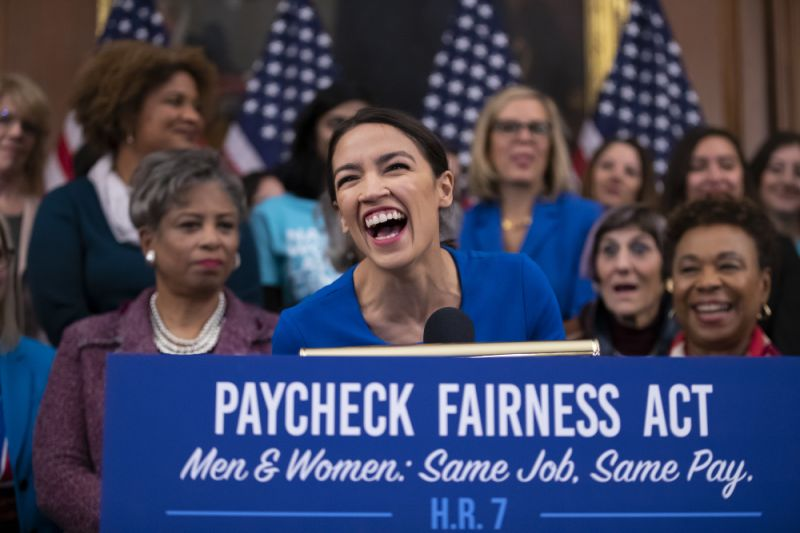 Rep. Alexandria Ocasio-Cortez, D-N.Y., smiles as she speaks during an eventuality to disciple for a Paycheck Fairness Act on a 10th anniversary of President Barack Obama signing a Lilly Ledbetter Fair Pay Act, during a Capitol in Washington, Wednesday, Jan. 30, 2019. The legislation, a tip tier emanate for a new Democratic infancy in a House, would strengthen a Equal Pay Act of 1963 and pledge that women can plea compensate taste and reason employers accountable.(AP Photo/J. Scott Applewhite)