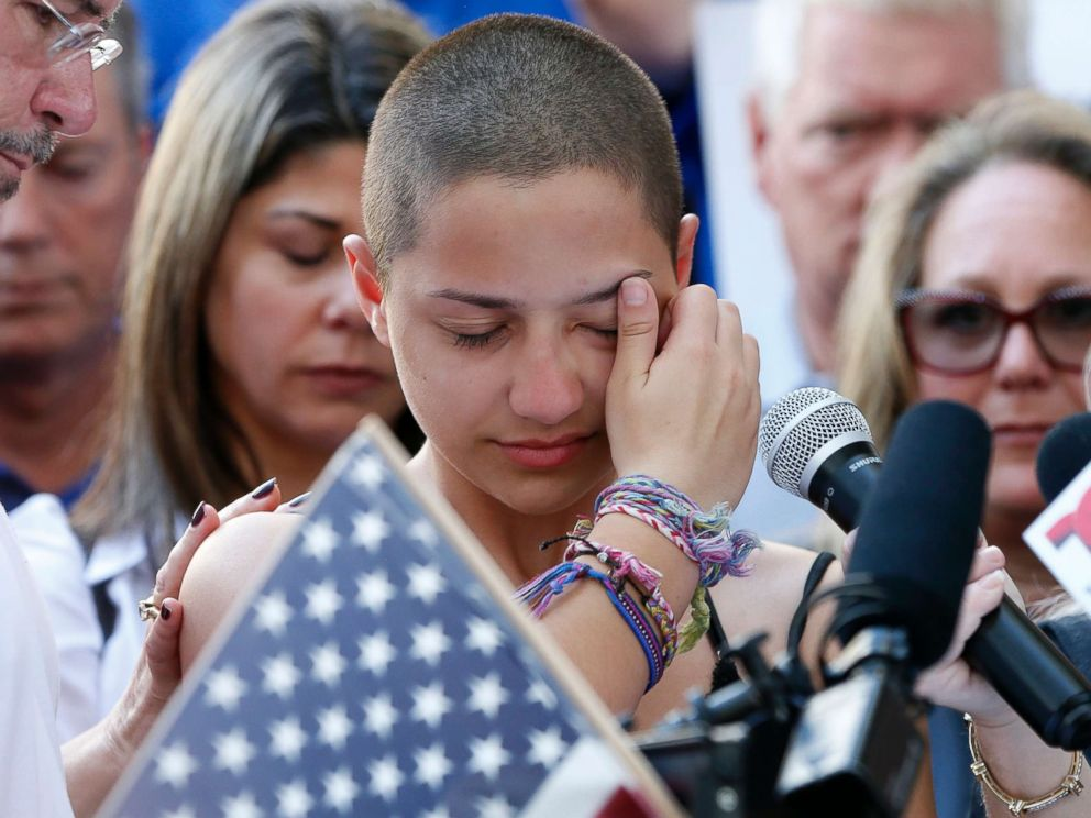 PHOTO: Marjory Stoneman Douglas High School tyro Emma Gonzalez speaks during a convene for gun control during a Broward County Federal Courthouse in Fort Lauderdale, Florida, Feb. 17, 2018.