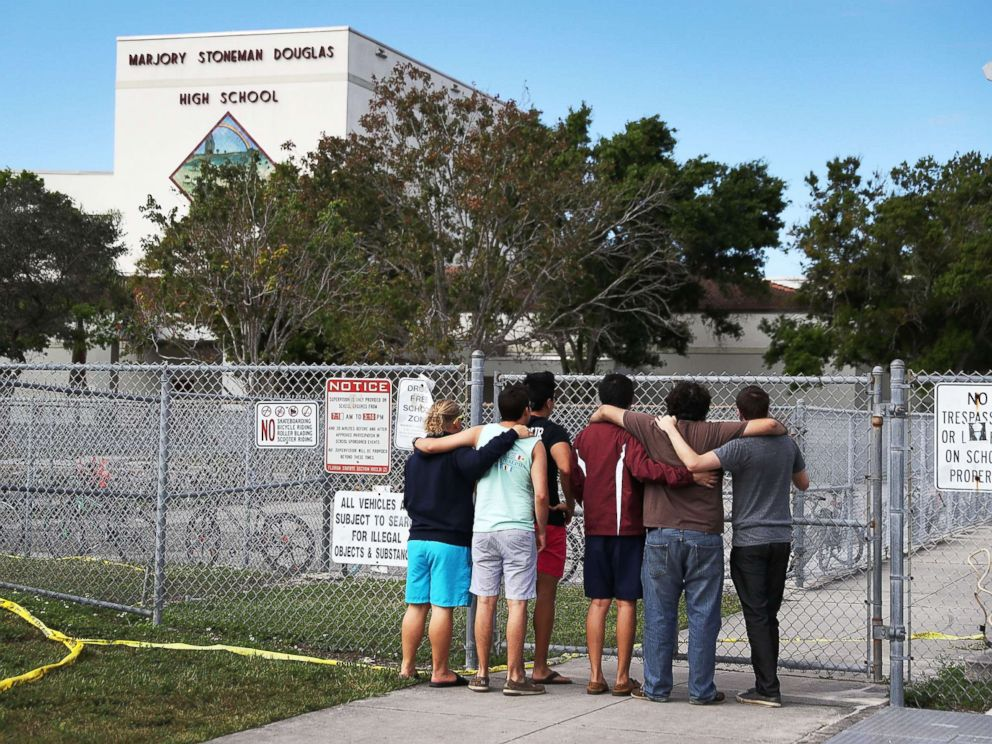PHOTO: People demeanour on during a Marjory Stoneman Douglas High School, Feb. 18, 2018, in Parkland, Florida.