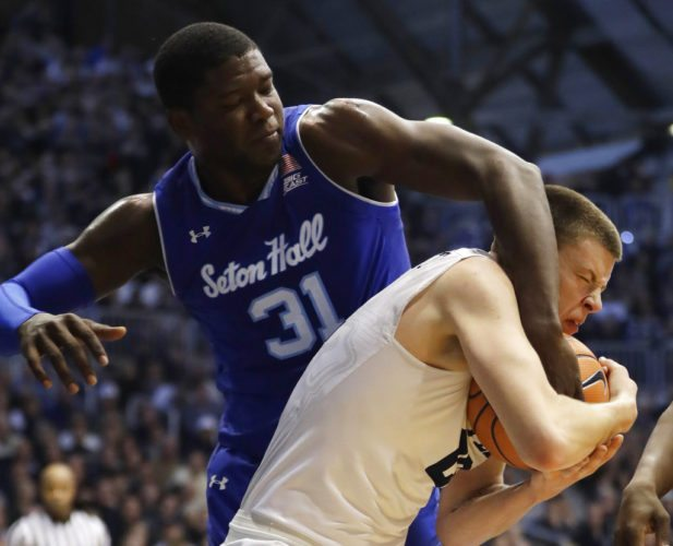 Butler's Sean McDermott grabs a miscarry opposite Seton Hall's Angel Delgado (31) during a initial half of a diversion progressing this deteriorate in Indianapolis. (By The Associated Press)