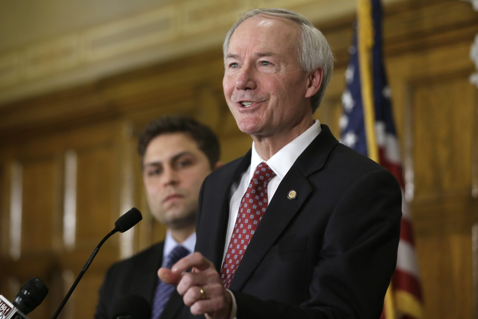 Arkansas Gov. Asa Hutchinson answers questions during a state Capitol in Little Rock, Ark., on Wednesday. (AP Photo/Danny Johnston)