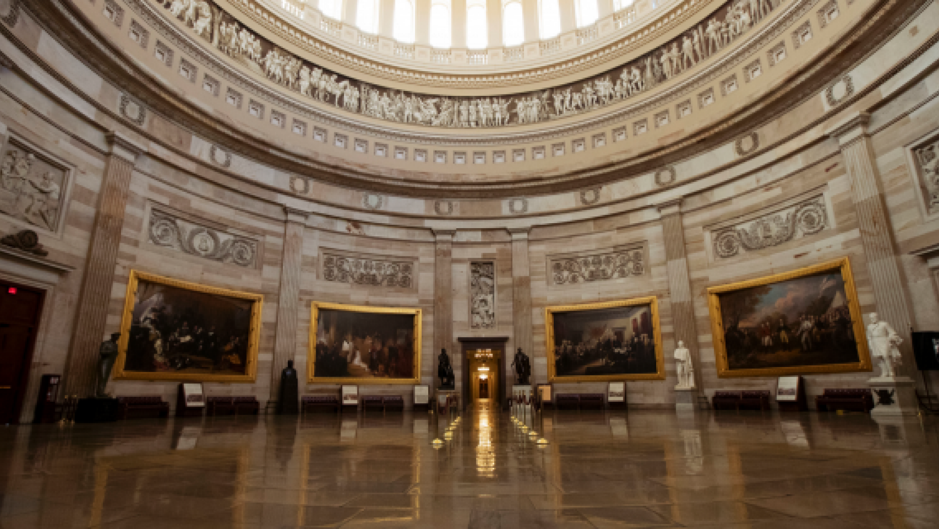 The dull U.S. Capitol Rotunda is seen during a prejudiced supervision shutdown in Washington, Monday, Dec. 24, 2018. Both sides in a long-running quarrel over appropriation President Donald Trump's U.S.-Mexico limit wall seem to have changed toward any other, though a shutdown of one-fourth of a sovereign supervision entered Christmas though a transparent fortitude in sight. (AP Photo/Manuel Balce Ceneta)
