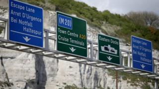 Road signs during a Port of Dover