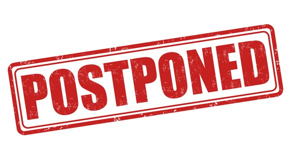 a red stamp that says postponed, on a white background