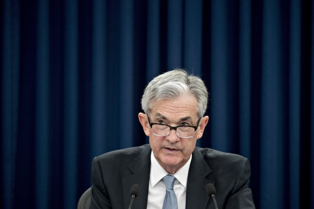 Federal Reserve Chairman Jerome Powell Wednesday during a news discussion in Washington.