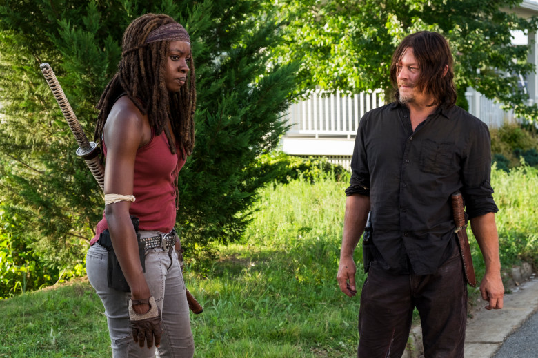 Danai Gurira as Michonne, Norman Reedus as Daryl Dixon - The Walking Dead _ Season 8, Episode 8 - Photo Credit: Gene Page/AMC