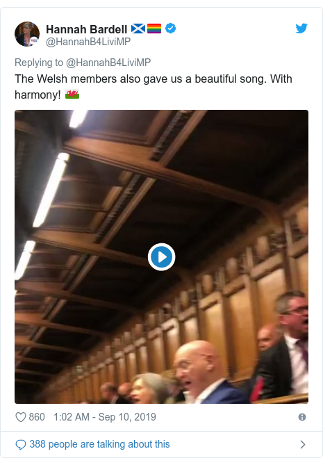 Twitter post by @HannahB4LiviMP: The Welsh members also gave us a pleasing song. With harmony! ????????????????????????????