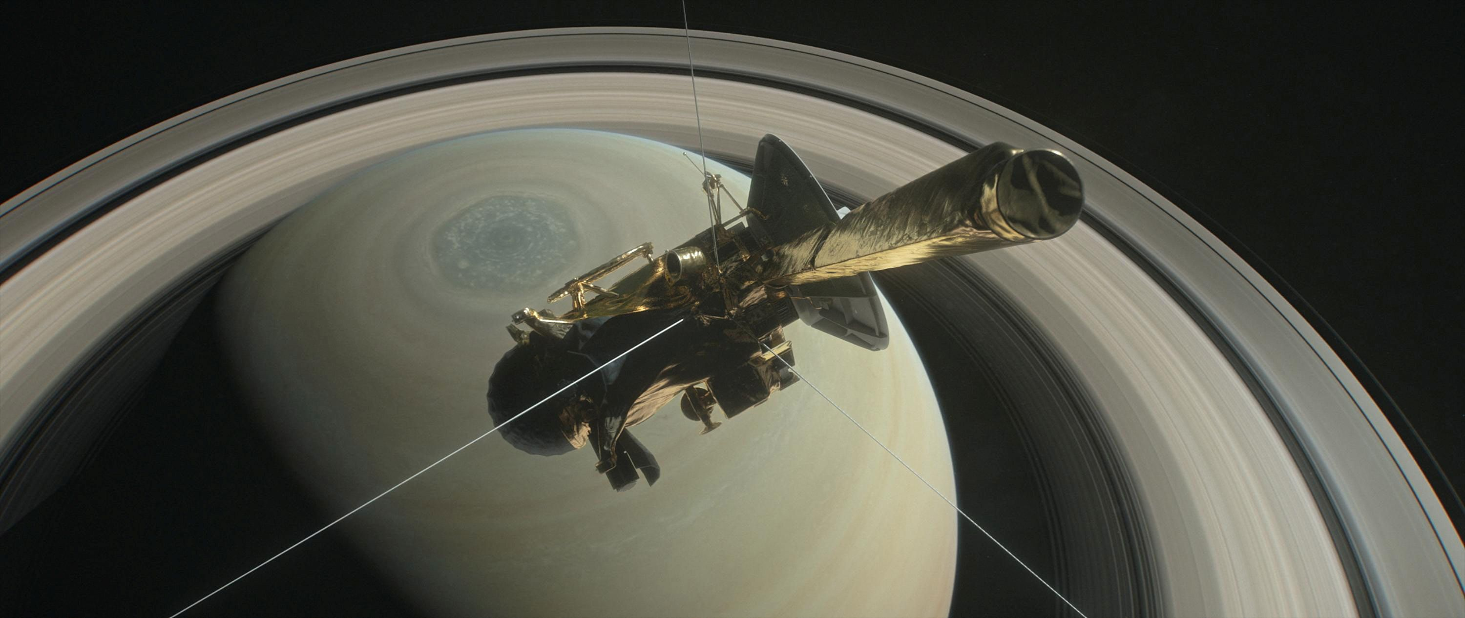 The booster Cassini is graphic above Saturn's northern hemisphere before to creation one of a Grand Finale dives