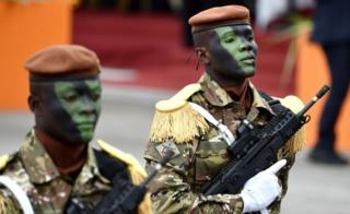 Soldiers of a Ivorian Special Forces march during celebrations in Abidjan imprinting a 58th anniversary of Ivory Coast's autonomy from France - Tuesday 7 Aug 2018