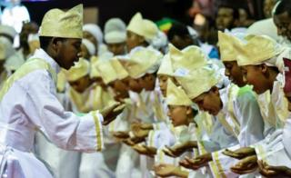 Tens of thousands of Ethiopian Orthodox believers accumulate during Millennium Hall in Addis Ababa, on Aug 4, 2018