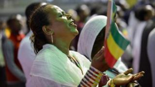 Tens of thousands of Ethiopian Orthodox believers accumulate during Millennium Hall in Addis Ababa - 4 Aug 2018