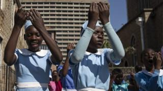 Children attend Sunday School during The Cathedral of a Sacred Heart of Jesus on Aug 05, 2018 in Harare, Zimbabwe