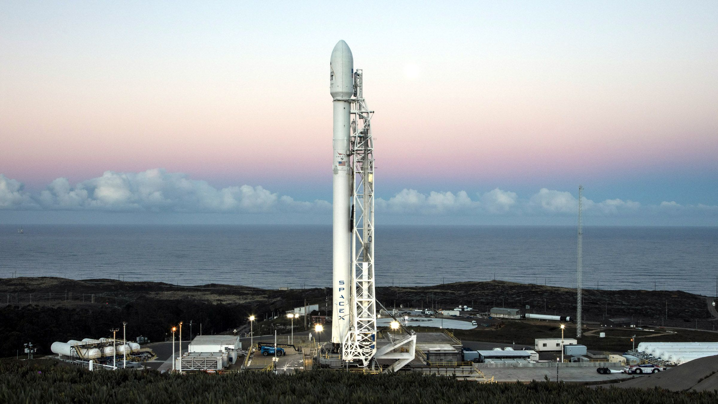 Falcon 9 with 10 Iridium NEXT communications satellites during Space Launch Complex 4E during Vandenberg Air Force Base, California.