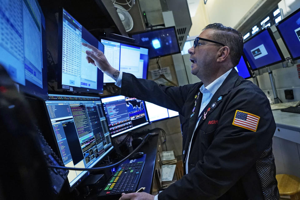 Trader Jonathan Mueller works in his counter on a building of a New York Stock Exchange, Tuesday, Sept. 21, 2021. Stocks are opening modestly aloft on Wall Street, creation adult some of a belligerent they mislaid in a pointy pullback a day earlier. (AP Photo/Richard Drew)