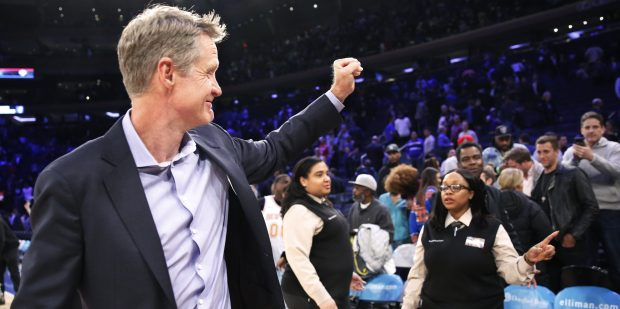 Golden State Warriors conduct manager Steve Kerr praised his players for being good NBA ambassadors. (AP Photo/Kathy Willens)