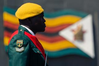 A ensure is seen in profile. The colours of his uniform compare a Zimbabwean dwindle seen in a background.