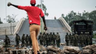 An antithesis believer hurdles military during a protests following elections in Kenya in Oct 2017