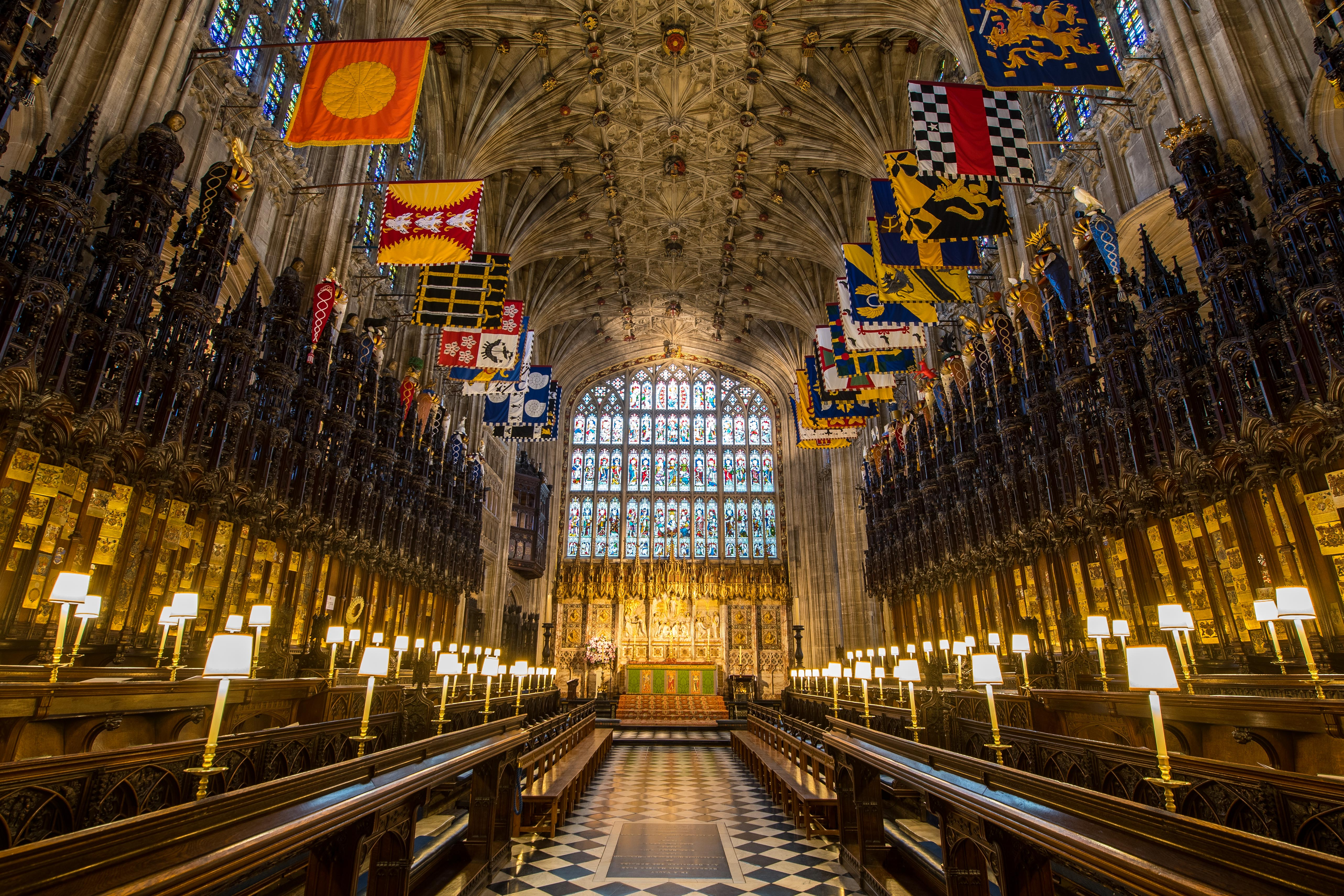 A ubiquitous perspective shows a choir in St George's Chapel during Windsor Castle, west of London, on Feb 11, 2018. Dominic Lipinski—AFP/Getty Images