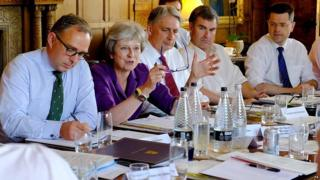 Theresa May and other cupboard ministers during Cheques final Friday