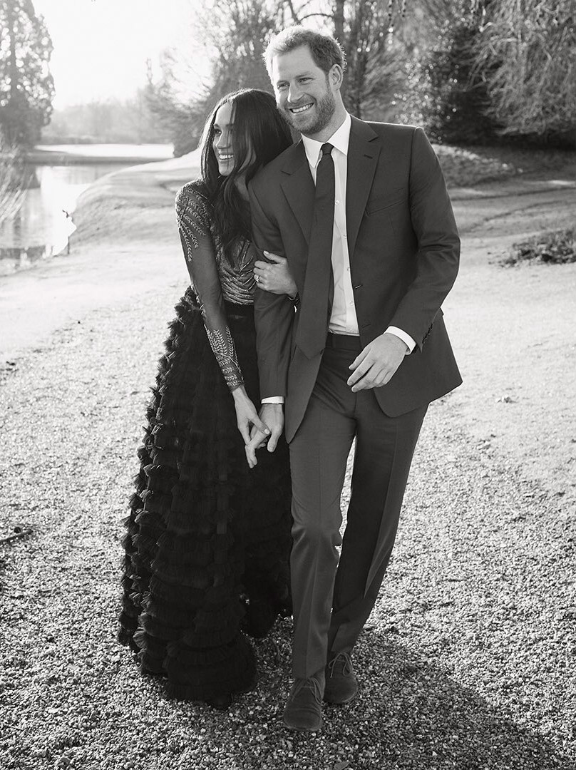 Meghan Markle and Prince Harry, photographed during Frogmore House during Windsor Castle to symbol their rendezvous in Nov 2017.