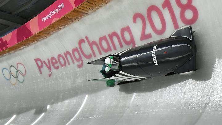Team personality and motorist Seun Adigun of Nigeria's women's bobsled group training forward of a 2018 Winter Olympic Games in Pyeongchang, South Korea, on Feb 7, 2018.