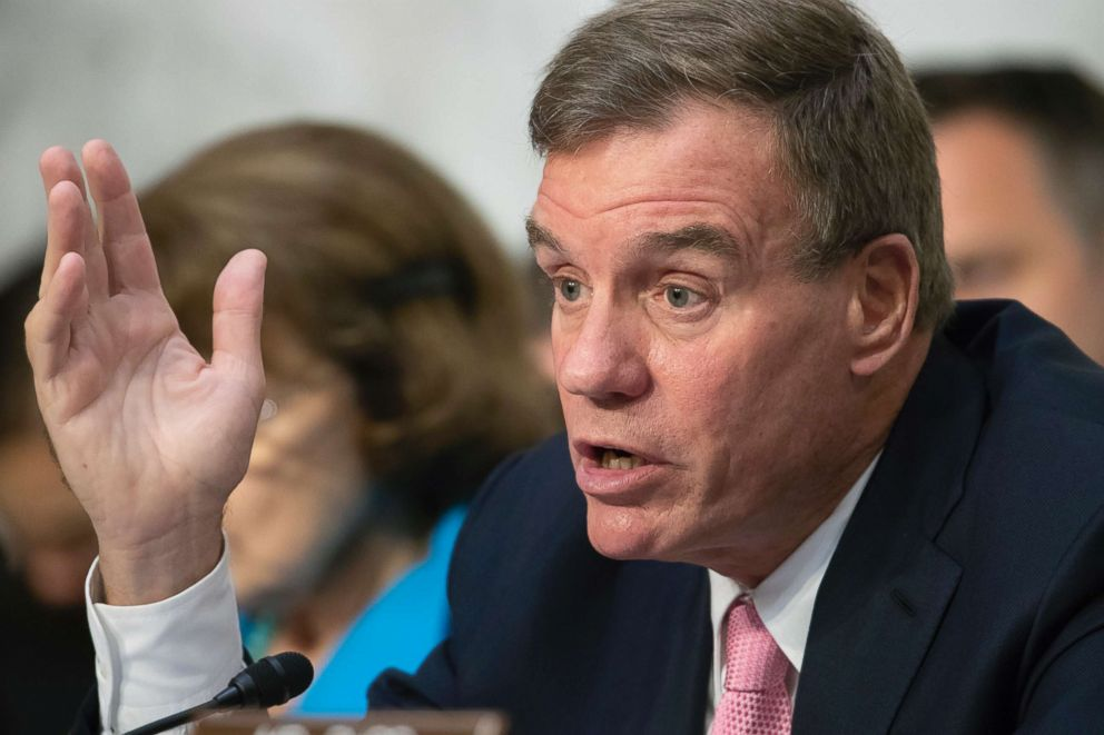 PHOTO: Sen. Mark Warner asks questions during a discussion on Capitol Hill in Washington, D.C., Jul 25, 2018.