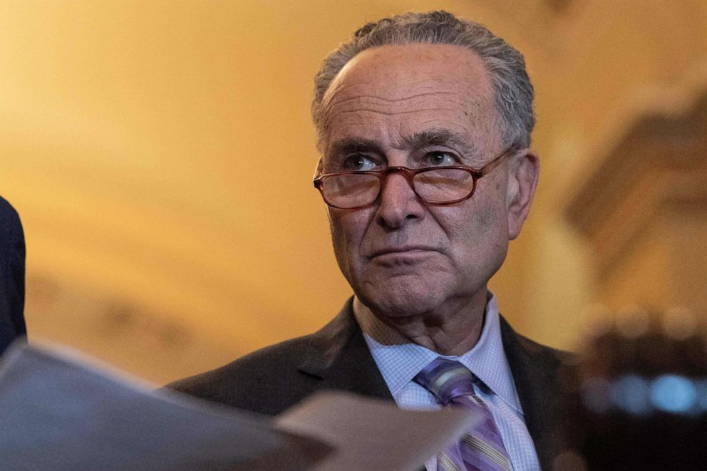 PHOTO: Senate Minority Leader Chuck Schumer looks on during a press discussion after a Democratic weekly process lunch during a Capitol, May 14, 2019.