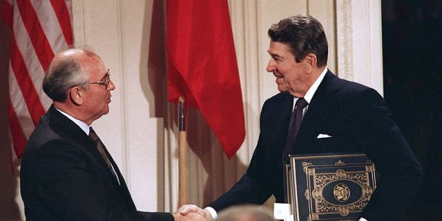 FILE - In this Dec. 8, 1987, record photo, President Ronald Reagan, right, shakes hands with Soviet personality Mikhail Gorbachev after a dual leaders sealed a Intermediate Range Nuclear Forces Treaty to discharge intermediate-range missiles during a rite in a White House East Room in Washington. The landmark arms control covenant that Reagan and Gorbachev sealed 3 decades ago is dead. The U.S. and Russia both walked divided from a understanding on Friday, Aug. 2, 2019.