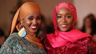 Ifrah Ahmed (left) with Aja Naomi King who plays her during filming during a Westin Hotel in Dublin of A Girl from Mogadishu, a loyal story formed on a testimony of Ahmed, who, carrying transient war-torn Somalia, has emerged as one of a worlds inaugural general activists opposite Female Genital Mutilation