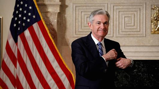 Federal Reserve Chairman Jerome Powell arrives to take a promise of bureau during a Federal Reserve in Washington, U.S., Feb 5, 2018.