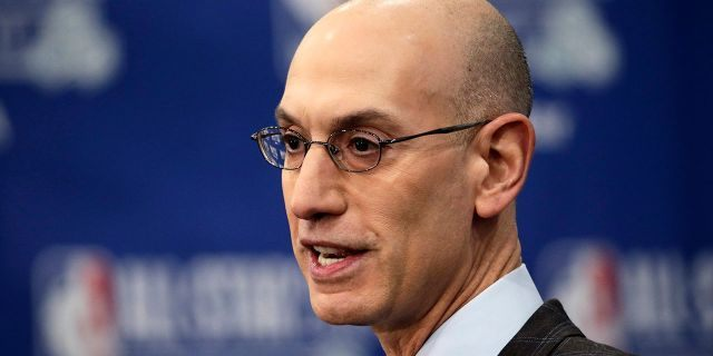 NBA Commissioner Adam Silver speaks during a NBA All-Star festivities, Saturday, Feb. 16, 2019, in Charlotte, N.C. The 68th All-Star diversion will be played Sunday.