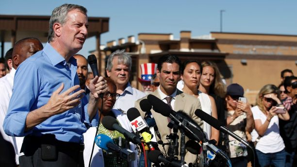 FILE - In this Thursday, Jun 21, 2018, record photo, New York Mayor Bill de Blasio speaks alongside a organisation of other U.S. mayors during a news discussion outward a holding trickery for newcomer children in Tornillo, Texas, nearby a Mexico border. U.S. Customs and Border Protection is alleging that de Blasio illegally crossed from Mexico into a U.S. while visiting a El Paso, Texas, area in June, an indictment a mayor�s bureau flatly denies. (AP Photo/Andres Leighton, File)